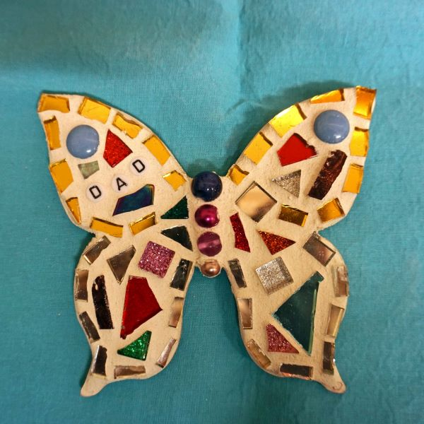 Memorial mosaic butterfly fridge magnet for dad by Gifts to Celebrate and Commemorate