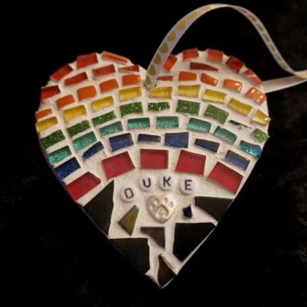 Rainbow Bridge Pet memorial mosaic heart by Gifts to Celebrate and Commemorate