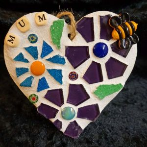 Mum Mosaic Heart 10cms – Pre-made and Ready for Dispatch!