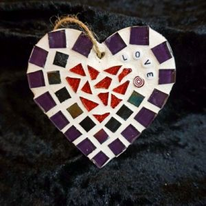 Mosaic Love Heart 10cms – Pre-made and Ready for Dispatch!