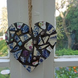 Vintage Inspired Mosaic Heart Blue 15cms – Pre-made and Ready for Dispatch!