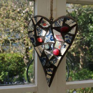 Chunky Mosaic Heart on Wood