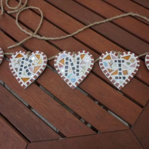 Personalised Mosaic Bunting Hearts – Made to Order