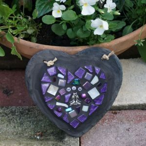 Mosaic Memorial Heart on Slate 15cm – Made to Order