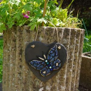 Mosaic Butterfly Blue Heart for Indoor or Outdoor Use – Pre-made and Ready for Dispatch